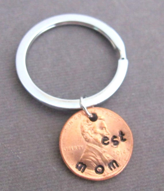 Mom est Lucky Penny Keychain,Gift for Mother,Mimi gift,Grandpa gift,Nana gift,Stamped Penny dad est keyring,gift for daddy,Free Shipping USA