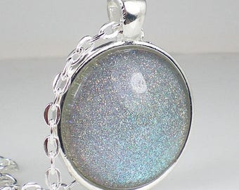 SUMMER SALE Teal Blue Purple Holo Glitter Nail Polish Necklace Jewelry