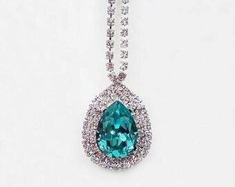 SUMMER SALE Light Turquoise Rhinestone Necklace Swarovski Aqua Teal Wedding Jewelry Bridesmaid Jewelry MADE To Order