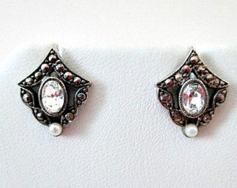 Avon Pierced Stud Earrings, Avon Romantic Accent Crystal Marcasite Vintage Pierced Earrings, Vintage Avon Wedding Bride Jewelry Gift