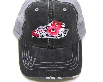 Kentucky Hat - Black and Gray Distressed Trucker Hat - Black and Red Floral Applique - All States Available