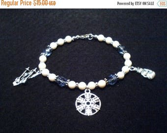 ON SALE Winter Charms & White Coral Bracelet, Coral Bracelet, Winter Bracelet, Snowman Bracelet, Snowflake Bracelet, Skiing Bracelet,