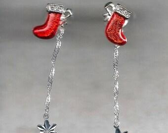 ON SALE Christmas Stocking Dangle Earrings