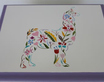 Baby Keepsake Box Baby Memory Box Floral Llama hand painted personalized baby gift for girl