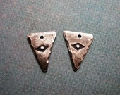 Antiqued Sterling Silver Triangle Charms with Great Spirit Stamping - 1 pair - 16mm