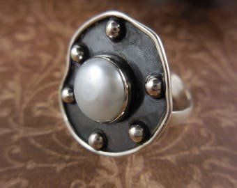 Natural freshwater pearl sterling silver ring - size 8.5
