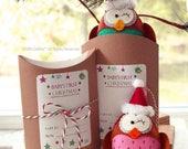 HOLIDAY OWL Keepsake, Personalized Christmas Ornament, Christmas Party Favor, Baby First Christmas, Holiday Stocking Stuffer, Christmas Owl