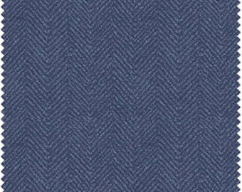 ON SALE - 10% Off Maywood Studios Woolies Flannel Blue Herringbone Apparel Fabric By The Yard