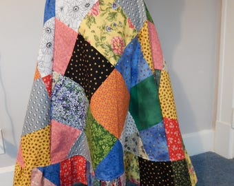 Diagonal ALL Patchwork OOAK Bias Cut Long and Full Hippie Patchwork skirt Festival Maxi Skirt Boho Skirt, OOAk Skirt, up to plus size