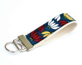 Keychain Wristlet with Designer Fabric, Navy with Pink and Yellow Blooms