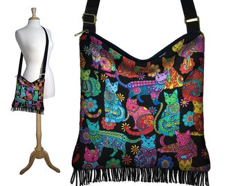 Cat Purse Crossbody Bags Boho Bag with Fringe Fabric Handbags Hippie Bag Fabric Purses Sling Bag Colorful Cat Lover Gift Bohemian Purse MTO