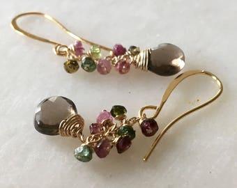 Gemstone Earrings, Tourmaline Earrings, Cluster Earrings, Smoky Quartz Earrings, Thin Chain Dangle Earrings