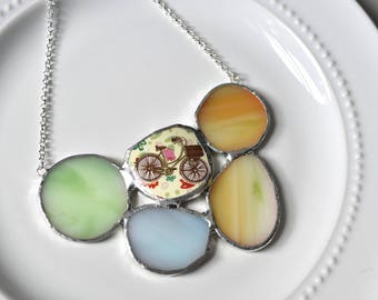 Cluster Broken China and Stained Glass Jewelry Necklace  - Bicycle and Glass