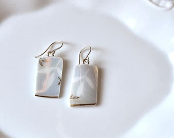 Broken China Earrings - Blue White and Gold