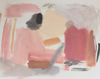 abstract painting pink organic shapes art original acrylic painting 9x12 gift