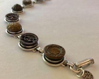 Anne vintage button link bracelet