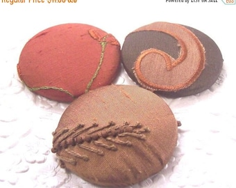 CLEARANCE - Brown buttons, beaded buttons, fabric covered buttons , embroidered buttons, size 75 buttons