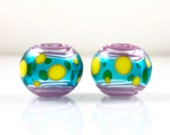 Pink Yellow and Aqua Lampwork Glass Hollow Bead Pair