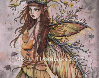 Fairy Art - Autumn Queen - Original Watercolor and Mixed Media Painting by Molly Harrison - Fantasy, Fairy, Fairies, Faery, Artwork