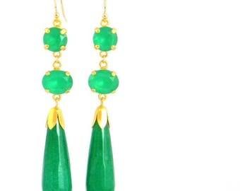 SALE Jade Green Long Art Deco Earrings