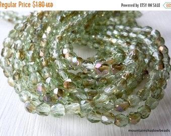 25% OFF Summer Sale 4mm Czech Beads - Peridot Twilight Firepolished Faceted 50 pcs (G - 100)