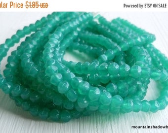 25% OFF Sale 3mm English Cut Beads - Atlantis Green - Czech Glass Beads - 50 pcs (SP - 17)