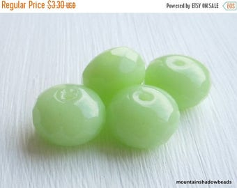 20% Summer SALE Czech Glass Beads 14mm Rondelle Beads Milky Blue - 4 pcs  (GG - 3)