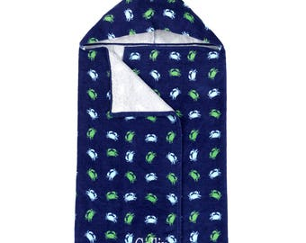 Personalized Hooded Towel | Monogrammed Hooded Beach Towel | Boys Navy Crab Beach Towel | Personalized Kids Nautical Towel | Kids Hood Towel