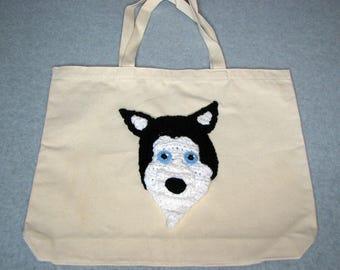 Husky Canvas Tote  - Dog Tote Bag- Pet Lovers Bag - Custom Tote Bag - Dog Lover Gift - Dog Moms Gift -
