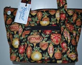 Quilted Fabric Purse with Beautiful Christmas Ornaments on Black