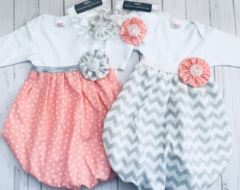 Baby girl GOWN.. with headband.. in Polka dots OR Grey chevron..girls clothing..