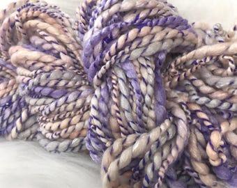 Yarn Handspun Thick and thin - MOON FAIRY - merino bamboo, crochet, knit, weaving, supplies, craft supplies, doll hair 77yds.
