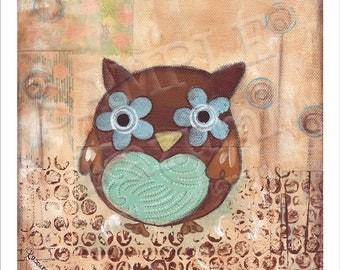Happy Owl - Mini Art Print(9cm x 9cm)