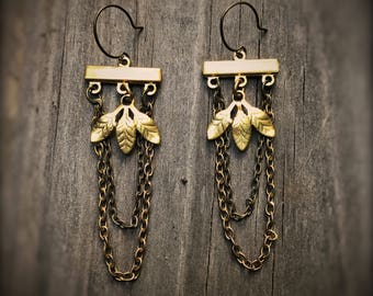 Golden Leaves Chandelier Chain Swag earrings, Autumn, fall, brass and bronze mixed metals