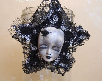 Gothic Ornament -  Black Star,Lace and Doll Head  or Tree Topper by Ugly Shyla - Gothic Doll - Gothic Gift - Halloween tree ornament - OOAK