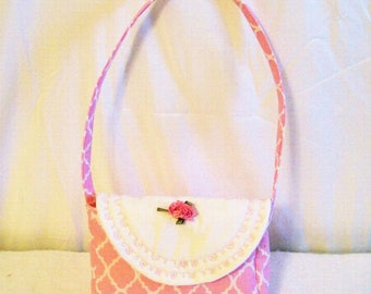 Little Girls Pink quarterfoil Purse  with rose applique and Embroidery,Totebag Handbag, Poinsettia, Handmade, Made in the USA , #6