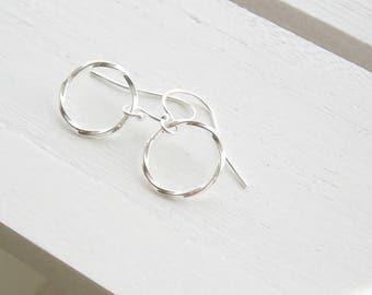 Silver hoop earrings - silver dangle earrings - plain silver earrings