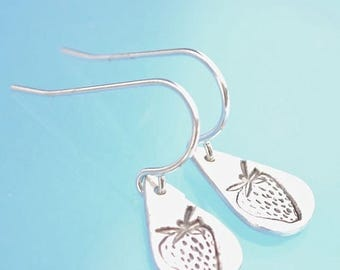 ON SALE STRAWBERRY earrings, teardrop hook earrings with strawberry, eco-friendly silver.  Handcrafted by Chocolate and Steel.