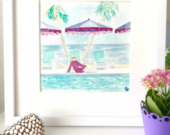 POOL LOUNGER Original framed watercolor painting