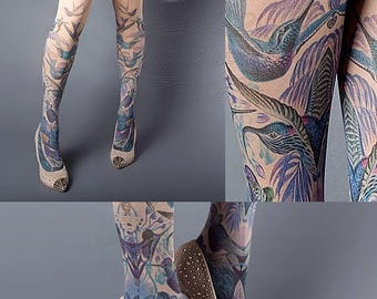 SALE///endsAug22/// Exotic Birds Closed Toe nude color one size full length printed tights, pantyhose, nylons, tattoo socks, tattoo tights