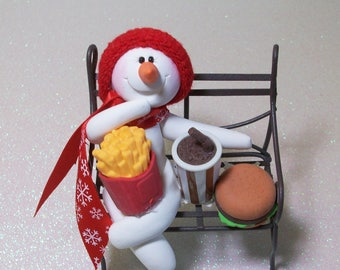 Snowman ornament with Burger and Fries lunch: polymer clay snowman and bench