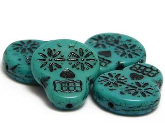 Czech Sugar Skull Beads - Turquoise Sugar Skull - Czech Skulls - Czech Glass Beads - Day Of The Dead Beads - Czech Beads - 4pcs (3598)