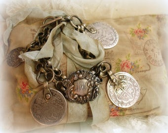 antique coin bracelet M F M monogram victorian slide chunky silver bracelet toggle clasp one of a kind vintage assemblage