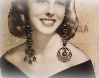 seville one of a kind vintage assemblage earrings . aged filigree links sterling filigree drops vintage pearls