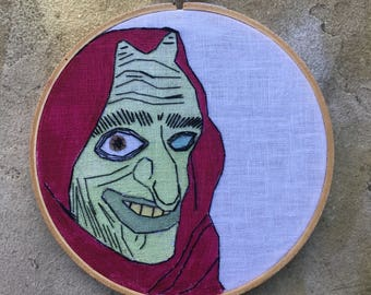 Crone - hand drawn, painted and embroidered fairy tale inspired witch hoop art wall hanging #witchaday 30/31