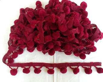 Burgundy Red Pom Pom Trim