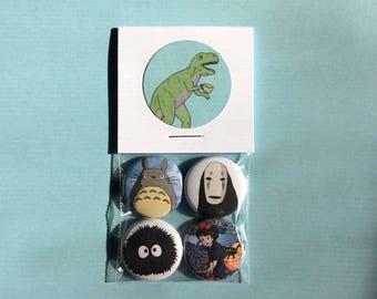 Hayao Miyazaki Pin Pack - One Inch Pinback Buttons
