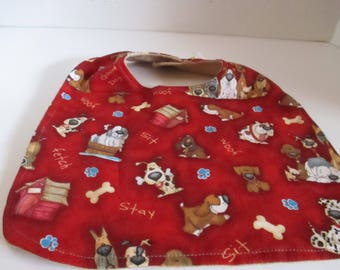 Baby bib, infant bib, red with dogs, Baby accessory, baby shower, infants, boys, babies and infants, newborns, drooling, spit up, feeding