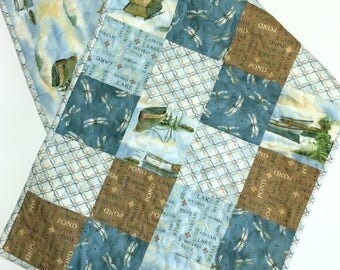 Table Runner Lake Home-Cabin-Cottage House-Rowboats-Dragonflies-Handmade Quilted