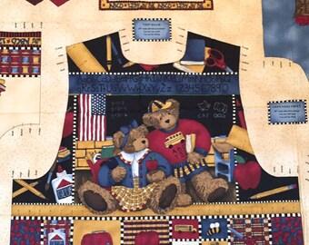 Teddy Bear Fabric Retired HTF TEACHER'S PET Teresa Kogut Easy & Quick Adult Vest Panel